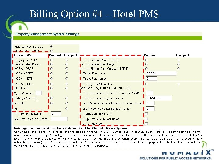 Billing Option #4 – Hotel PMS