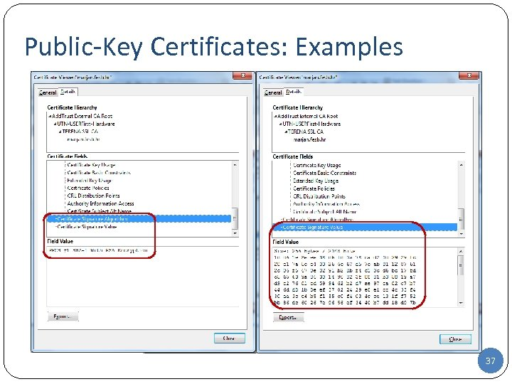 Public-Key Certificates: Examples 37