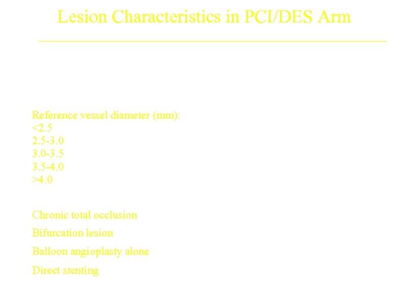 Lesion Characteristics in PCI/DES Arm Lesions Reference vessel diameter (mm): <2. 5 -3. 0
