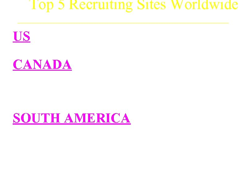 Top 5 Recruiting Sites Worldwide US a. Mount Sinai Medical Center CANADA a. Vancouver