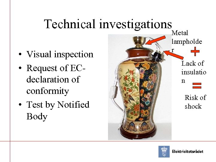 Technical investigations • Visual inspection • Request of ECdeclaration of conformity • Test by