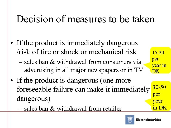 Decision of measures to be taken • If the product is immediately dangerous /risk