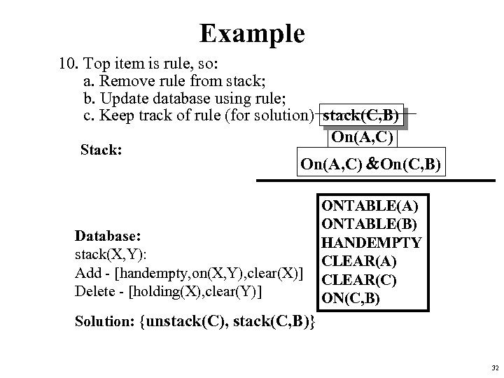 Example 10. Top item is rule, so: a. Remove rule from stack; b. Update