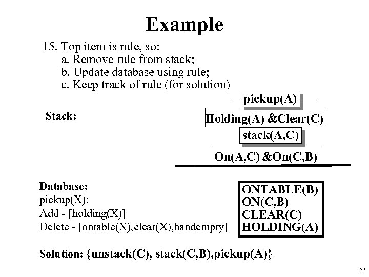 Example 15. Top item is rule, so: a. Remove rule from stack; b. Update