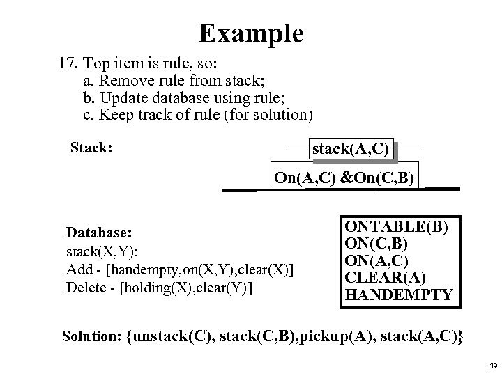 Example 17. Top item is rule, so: a. Remove rule from stack; b. Update