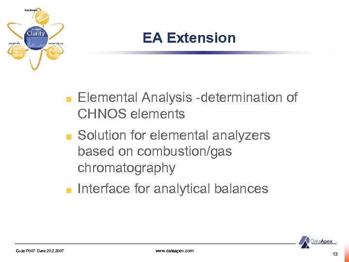 EA Extension Elemental Analysis -determination of CHNOS elements Solution for elemental analyzers based on