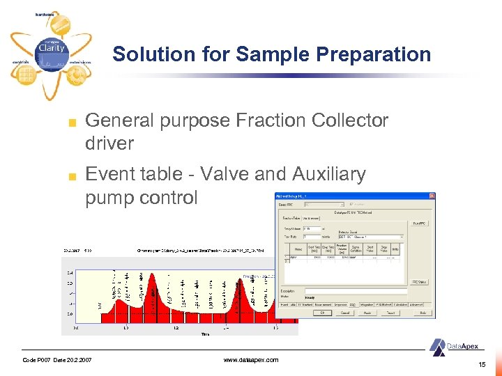 Solution for Sample Preparation General purpose Fraction Collector driver Event table - Valve and