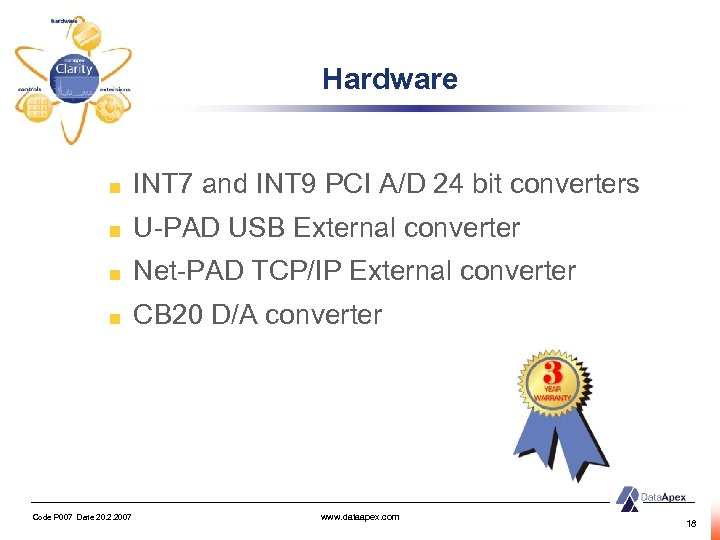 Hardware INT 7 and INT 9 PCI A/D 24 bit converters U-PAD USB External