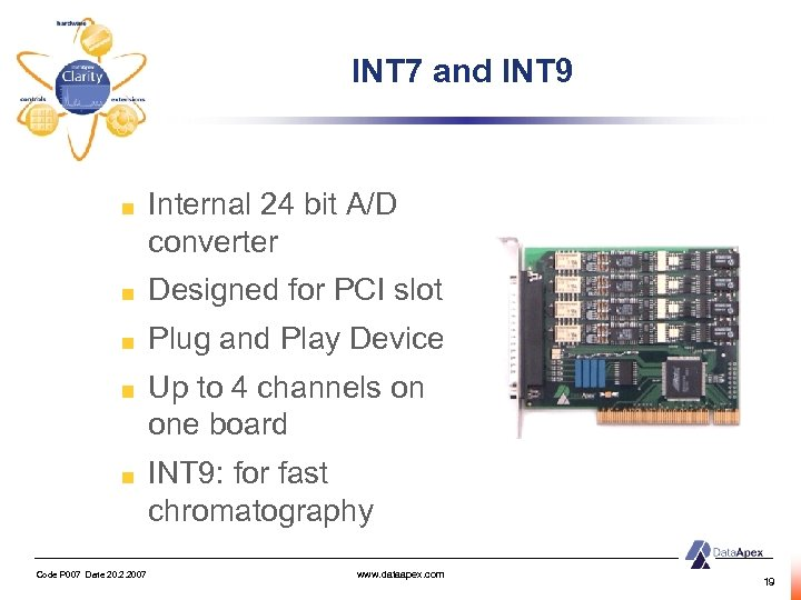 INT 7 and INT 9 Internal 24 bit A/D converter Designed for PCI slot