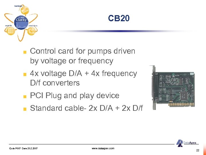 CB 20 Control card for pumps driven by voltage or frequency 4 x voltage