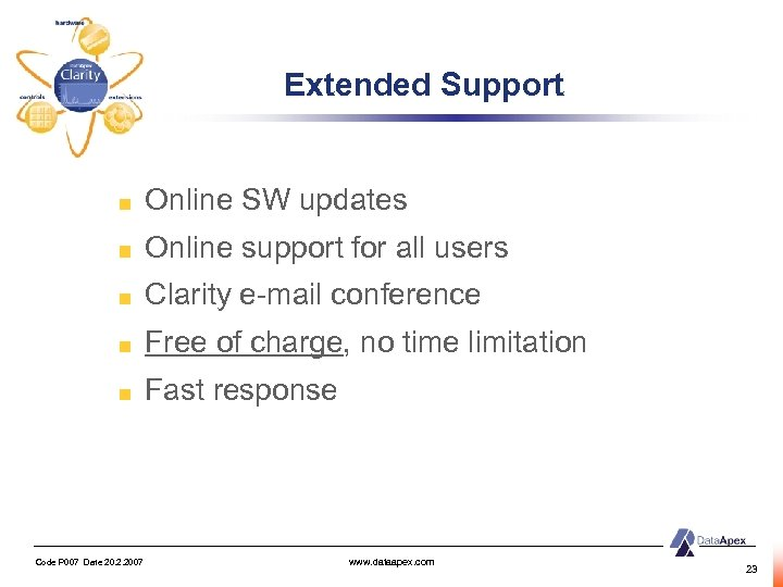 Extended Support Online SW updates Online support for all users Clarity e-mail conference Free