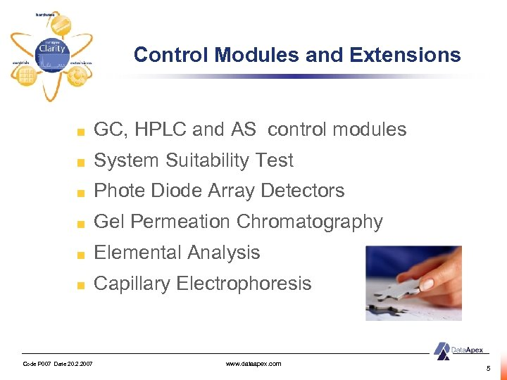 Control Modules and Extensions GC, HPLC and AS control modules System Suitability Test Phote