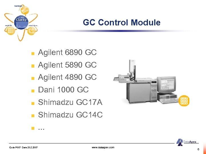 GC Control Module Agilent 6890 GC Agilent 5890 GC Agilent 4890 GC Dani 1000
