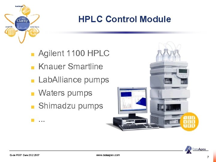 HPLC Control Module Agilent 1100 HPLC Knauer Smartline Lab. Alliance pumps Waters pumps Shimadzu