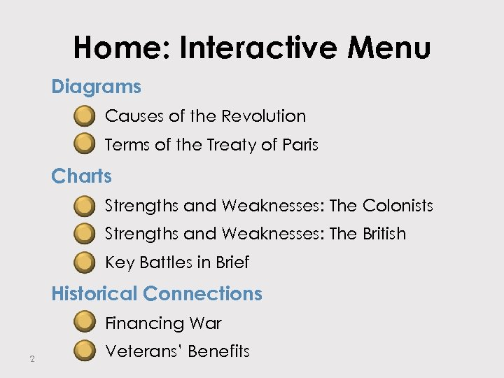 Home: Interactive Menu Diagrams – Causes of the Revolution – Terms of the Treaty