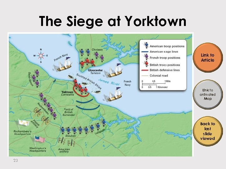 The Siege at Yorktown Link to Article Link to animated Map Back to last