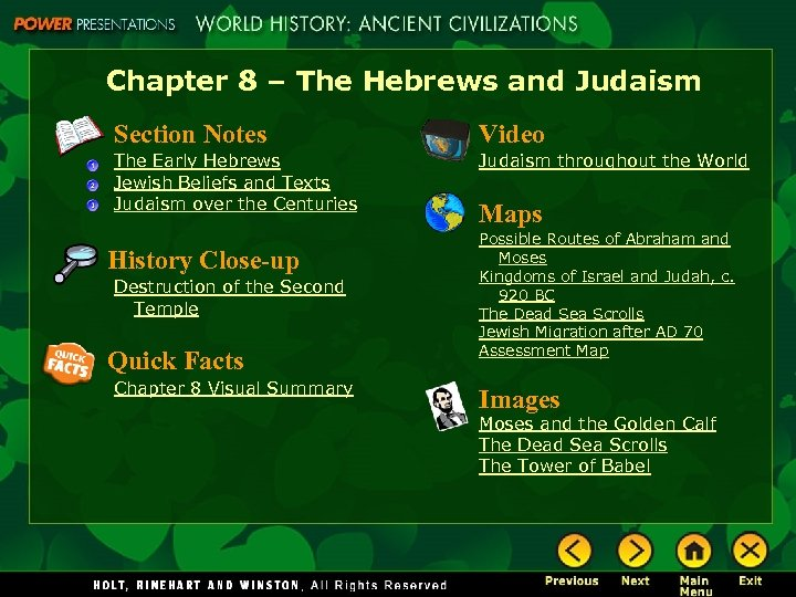 Chapter 8 – The Hebrews and Judaism Section Notes Video The Early Hebrews Jewish