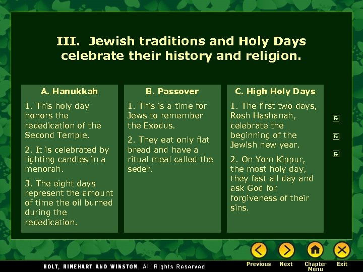 III. Jewish traditions and Holy Days celebrate their history and religion. A. Hanukkah 1.