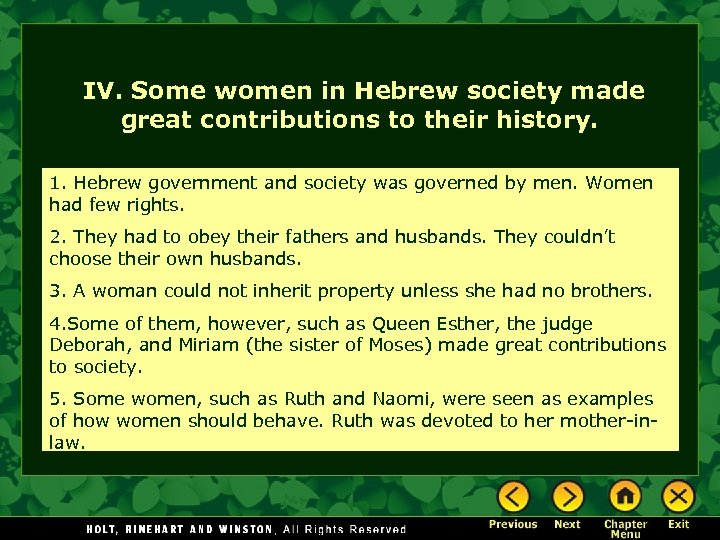 IV. Some women in Hebrew society made great contributions to their history. 1. Hebrew