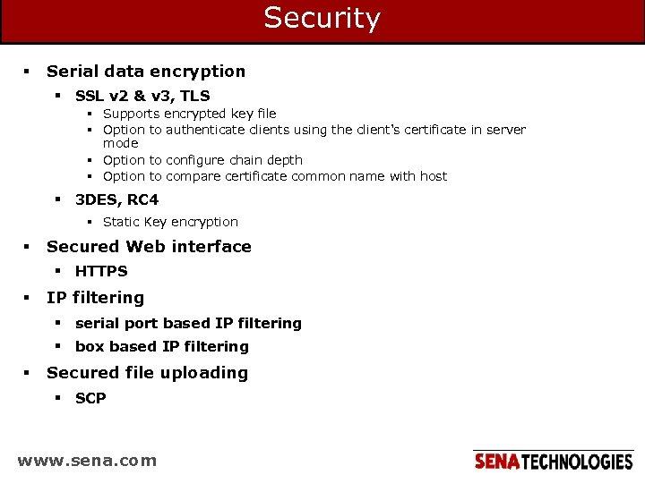 Security § Serial data encryption § SSL v 2 & v 3, TLS §