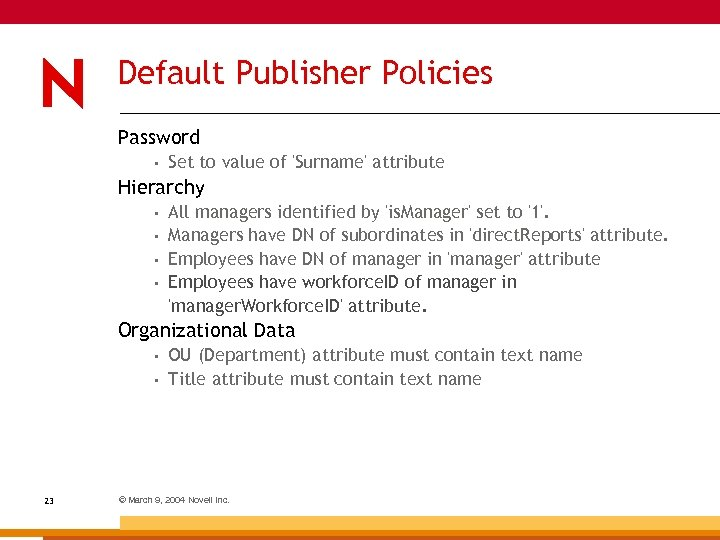 Default Publisher Policies Password • Set to value of 'Surname' attribute Hierarchy • •
