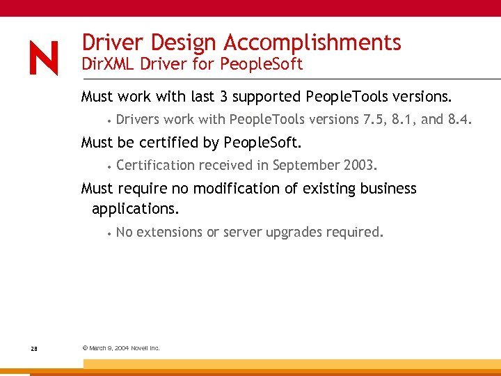 Driver Design Accomplishments Dir. XML Driver for People. Soft Must work with last 3