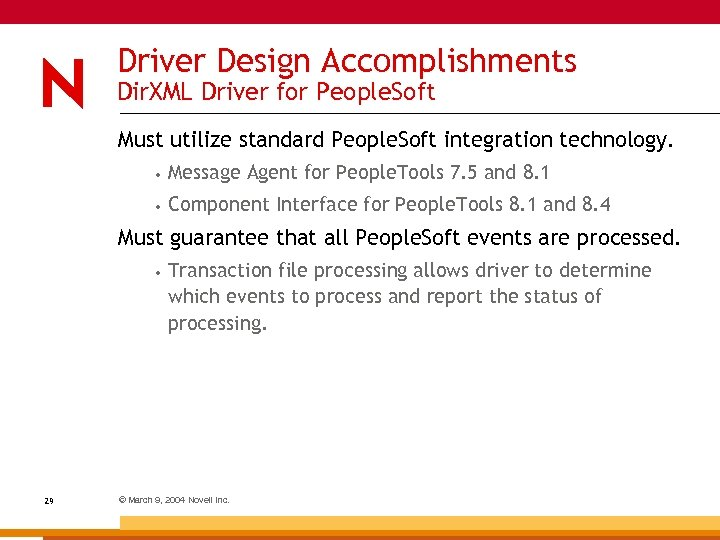 Driver Design Accomplishments Dir. XML Driver for People. Soft Must utilize standard People. Soft