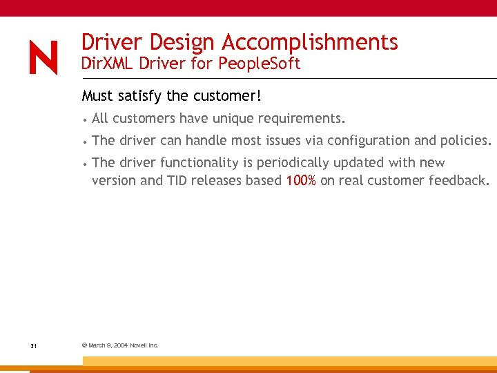 Driver Design Accomplishments Dir. XML Driver for People. Soft Must satisfy the customer! •