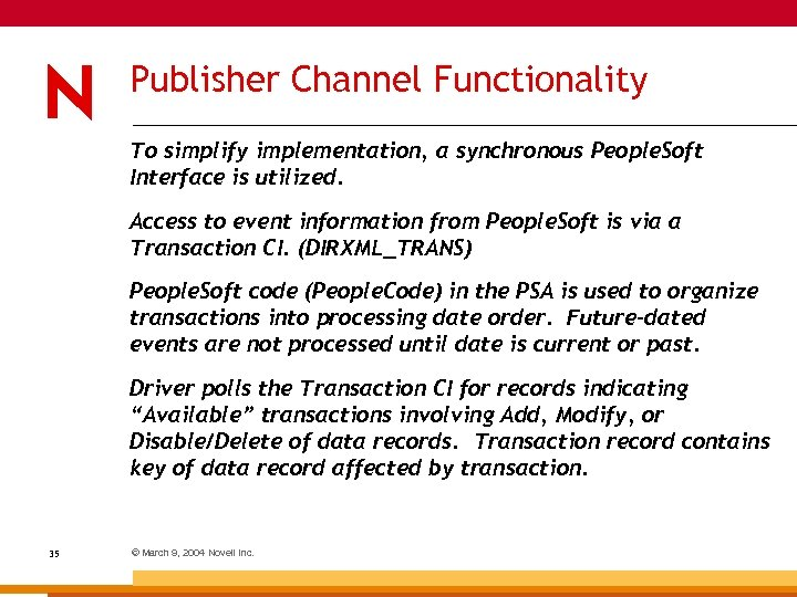 Publisher Channel Functionality To simplify implementation, a synchronous People. Soft Interface is utilized. Access