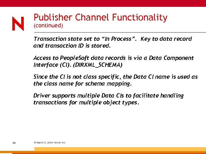 "Publisher Channel Functionality (continued) Transaction state set to ""In Process"". Key to data record"