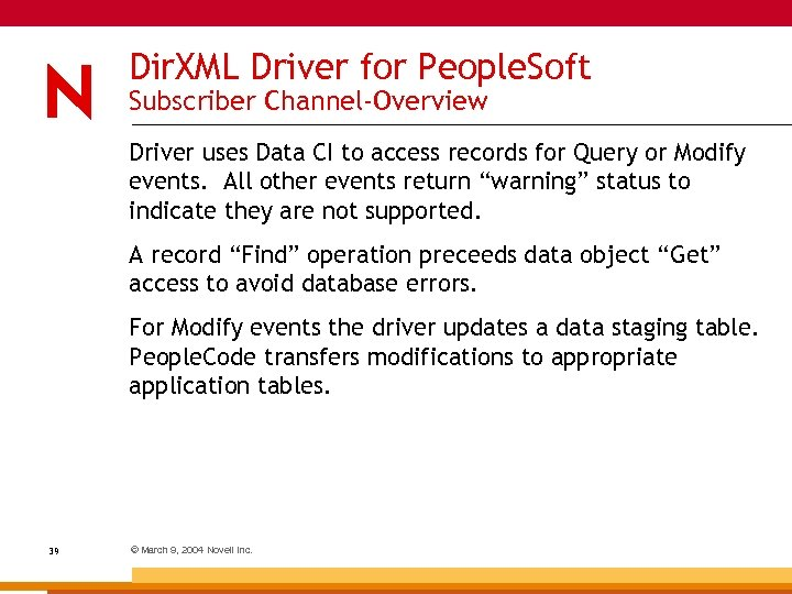Dir. XML Driver for People. Soft Subscriber Channel-Overview Driver uses Data CI to access