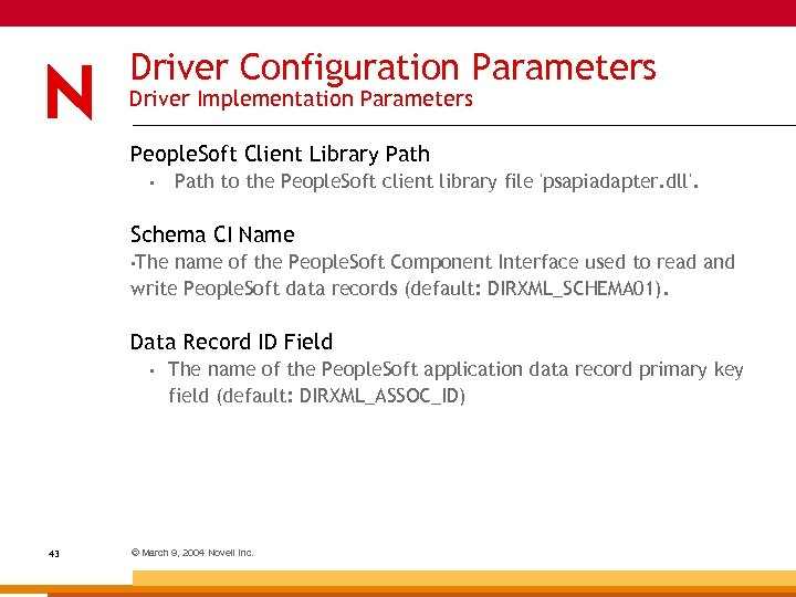 Driver Configuration Parameters Driver Implementation Parameters People. Soft Client Library Path to the People.