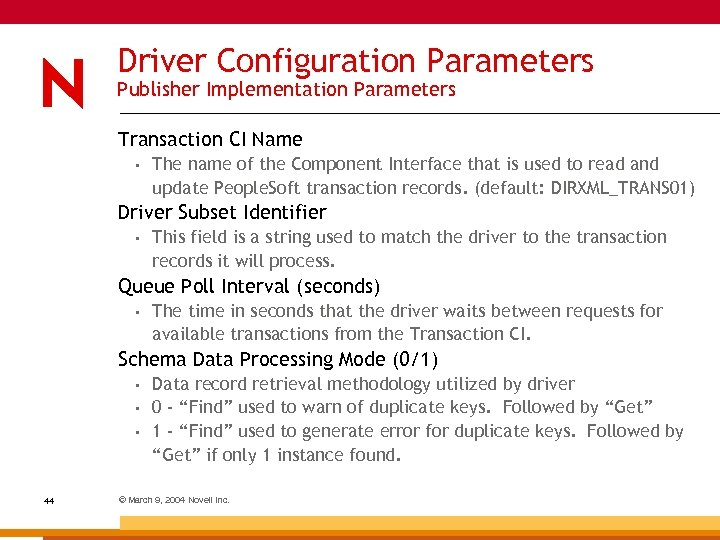 Driver Configuration Parameters Publisher Implementation Parameters Transaction CI Name • The name of the