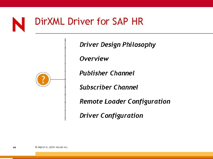 Dir. XML Driver for SAP HR Driver Design Philosophy Overview Publisher Channel Subscriber Channel