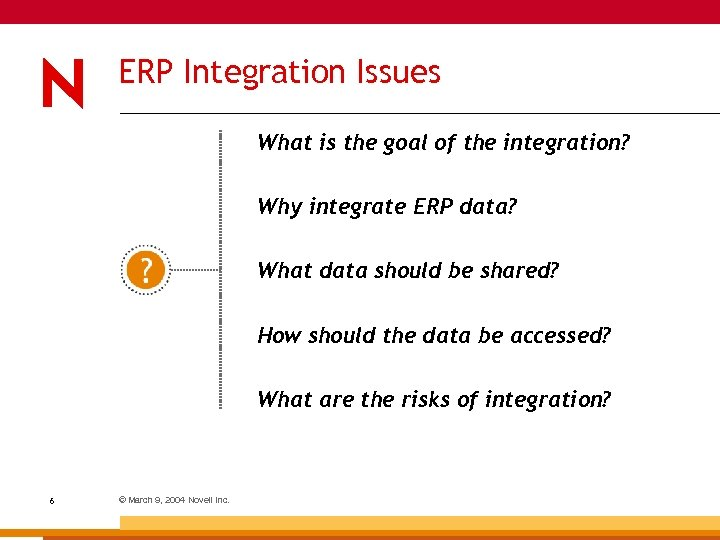 ERP Integration Issues What is the goal of the integration? Why integrate ERP data?