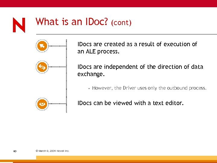 What is an IDoc? (cont) IDocs are created as a result of execution of