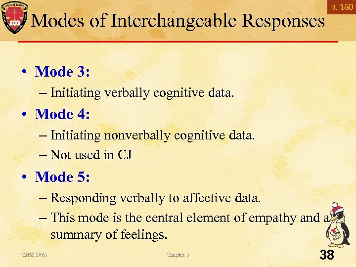 Modes of Interchangeable Responses p. 160 • Mode 3: – Initiating verbally cognitive data.