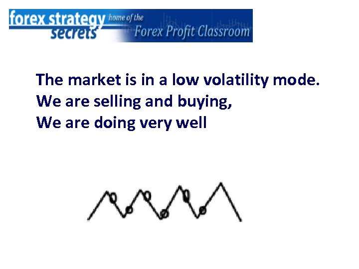 The market is in a low volatility mode. We are selling and buying, We