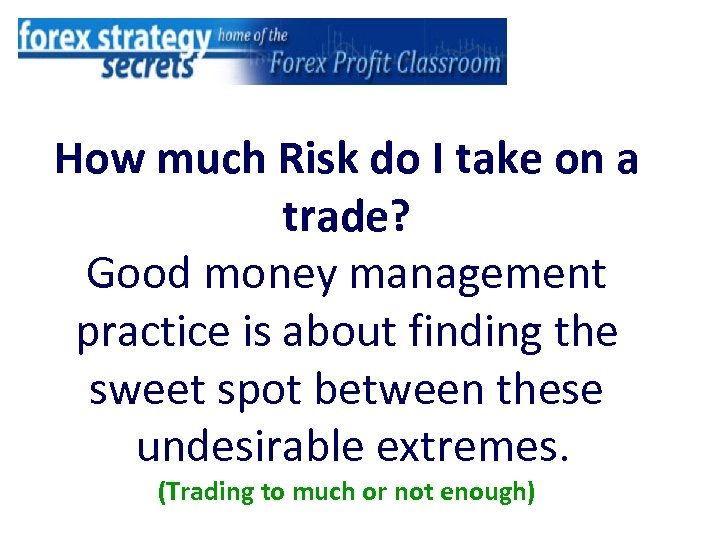 How much Risk do I take on a trade? Good money management practice is