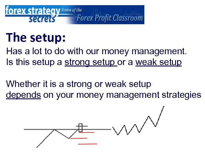 The setup: Has a lot to do with our money management. Is this setup