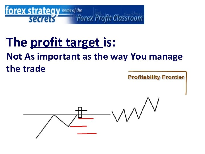 The profit target is: Not As important as the way You manage the trade