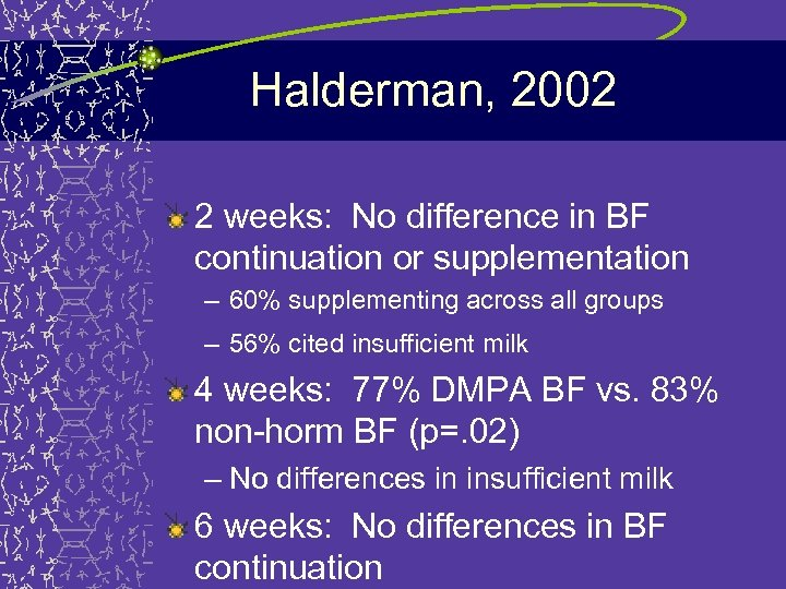Halderman, 2002 2 weeks: No difference in BF continuation or supplementation – 60% supplementing