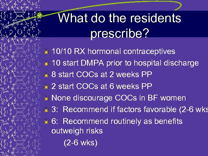 What do the residents prescribe? 10/10 RX hormonal contraceptives 10 start DMPA prior to