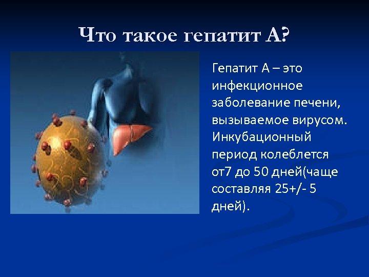 Что такое гепатит А? Гепатит А – это инфекционное заболевание печени, вызываемое вирусом. Инкубационный