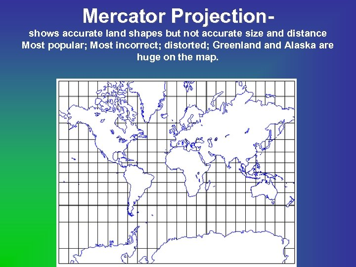 Mercator Projectionshows accurate land shapes but not accurate size and distance Most popular; Most