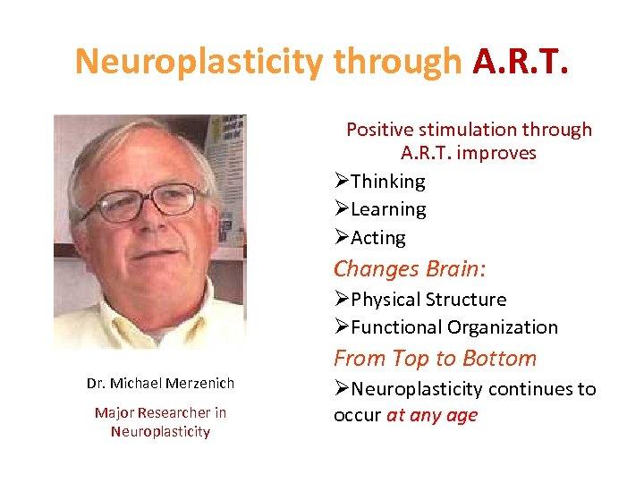 Neuroplasticity through A. R. T. Positive stimulation through A. R. T. improves ØThinking ØLearning