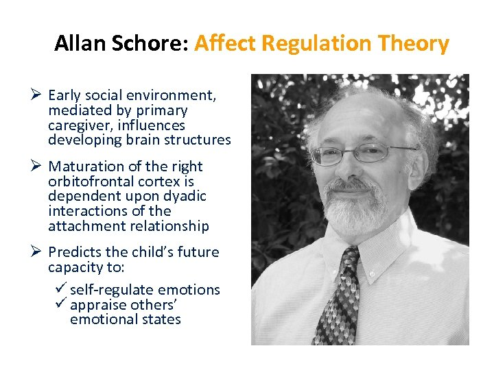 Allan Schore: Affect Regulation Theory Ø Early social environment, mediated by primary caregiver, influences
