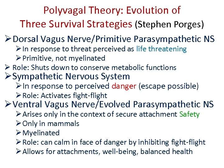 Polyvagal Theory: Evolution of Three Survival Strategies (Stephen Porges) Ø Dorsal Vagus Nerve/Primitive Parasympathetic
