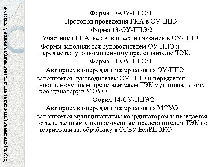 Государственная (итоговая) аттестация выпускников 9 классов Форма 13 -ОУ-ППЭ/1 Протокол проведения ГИА в ОУ-ППЭ