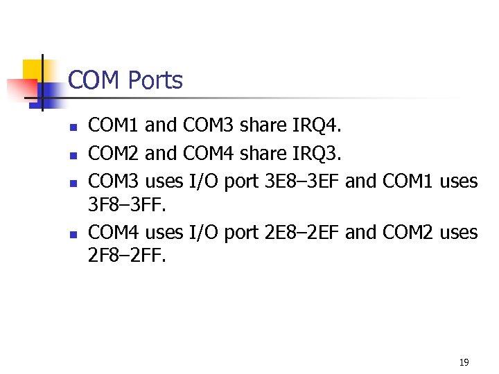 COM Ports n n COM 1 and COM 3 share IRQ 4. COM 2